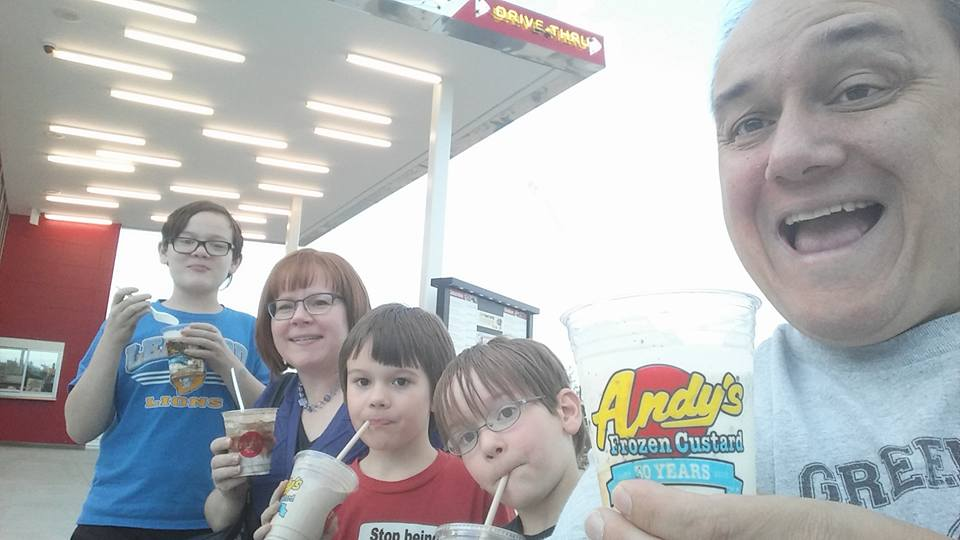 Enjoying a custard at Andy's with the whole family