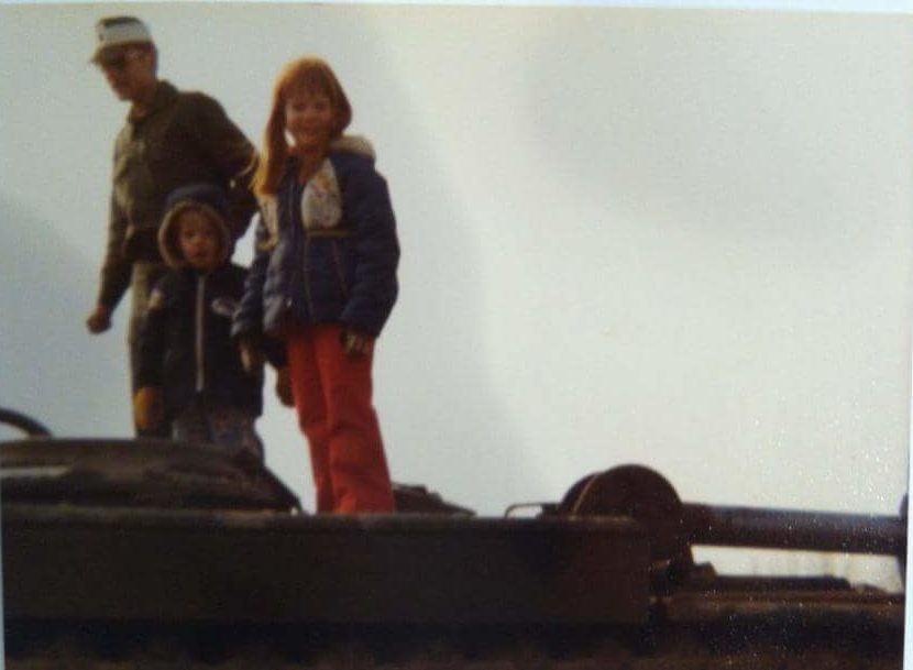 Take Your Kid to Work day for Army brats - me and my brother on a tank around 1980